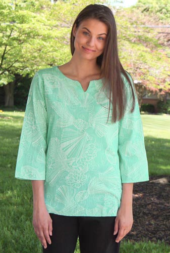 Cotton Split Neck Long Sleeve Tunic